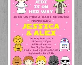Girl Baby Shower, princess leia invitation, Star Wars invitation