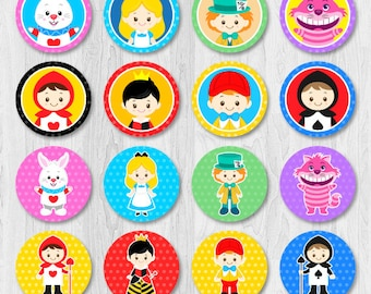 Alice in Wonderland Cupcake Toppers, Alice in Wonderland Cupcake Topper, Alice in wonderland party decorations