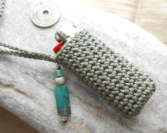 Lighter Case Necklace light gray with Sterling Silver, Turquoise & Fluorite Gems  - Lighter Holder - gift idea for smokers - gift for her***