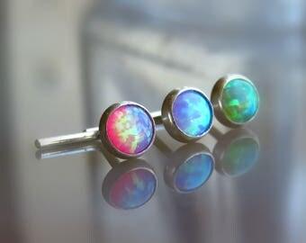 opal nose piercing - 18G 20G 22G nose stud - fire opal nose stud