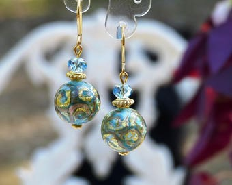 Earrings Blue Gold Murano glass and aventurine