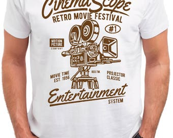 Cinema Scope. Retro Movie Festival. Men's white cotton t-shirt