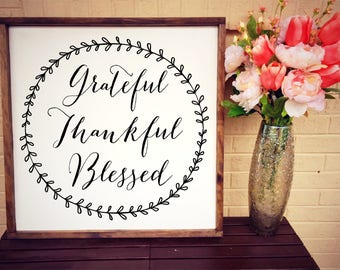 Grateful Thankful Blessed Sign, Fall decor, Fixer Upper Signs, Harvest Decor
