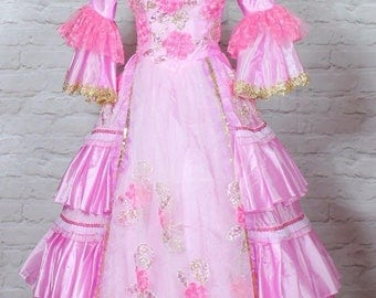 Theatre Victorian Edwardian Style Gown Dress Costume Wedding Stage UK 10-12...US 6-8