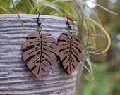 Wooden Earrings - Monstera Leaf