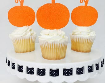 12 Pumpkin Cupcake Toppers - Halloween - Halloween Party - Scary - Party Decorations -  Party Supplies - October - Glitter