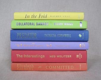 Book Bundle in Bright Colors, Multicolored Decorative Books, Rainbow Book Set
