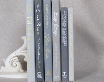 Book Bundle in Shades of Gray, Decorative Book Set, Wedding Books