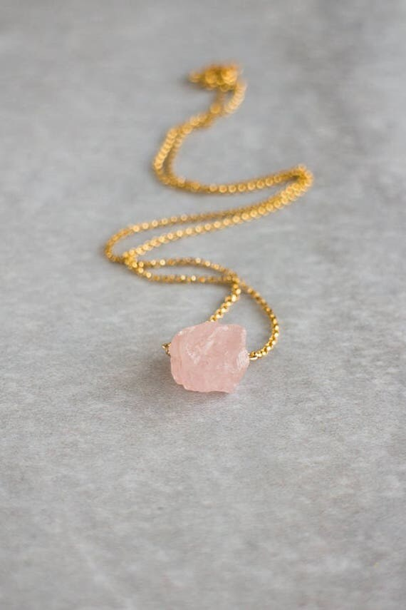 Raw Morganite Crystal Necklace