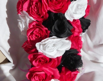 Watermelon Pink black and white roses  cascading  bouquet  made of all roses 21 pieces