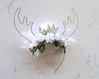 Reversible White & Gold Reindeer Flower Crown Headband