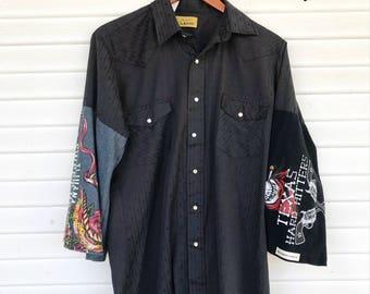 Upcycled Pearl Snap Shirt - Black Pearl Snap - T-Shirt Sleeve Pearl Snap Shirt - Size MEDIUM