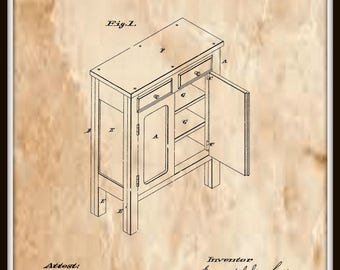 Sectional Kitchen Safe Patent #301449 dated July 1, 1884.