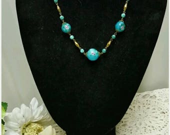 Art Deco 1930s Venetian Glass Necklace Vintage Jewelry Blue Floral and Gold Accents short necklace
