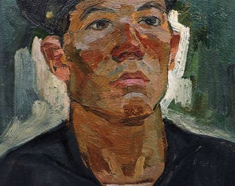 VINTAGE MALE PORTRAIT Original Oil Painting by Soviet Russian Ukrainian artist A.Solodovnikov 1960's, Portrait of a man, Socialist Realism