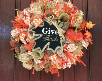 Give Thanks Fall Wreath, Thanksgiving Wreath, Fall Wreath