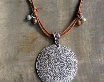 Short leather necklace bohemian necklace boho chic necklace boho necklace womens jewelry boho chic jewelry hippie necklace gypsy necklace