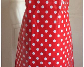 Handmade Mum and Child Set of 2 Wipeable PVC Baking Aprons Red and White Polka Dots