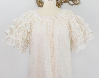 Vintage 1970's Tumbleweeds Polyester Lace Top with Ruffled Sleeves