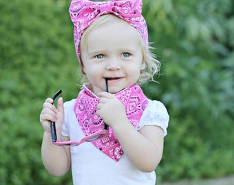 Pink Bandana Headband // Cowgirl Headband // Country Baby Headband // Bow Headband // Gift for Baby Girl