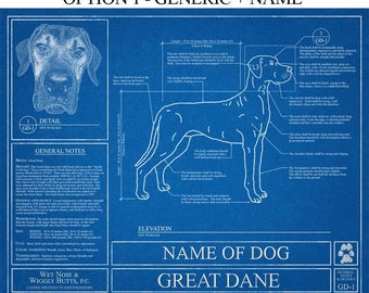 Personalized Great Dane Blueprint / Great Dane Art / Great Dane Wall Art / Great Dane Gift / Great Dane Print