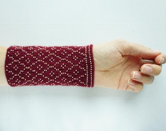 Maroon and gold beaded wrist warmers/ knitted wristlets with beads / woollen cuffs – ready to ship