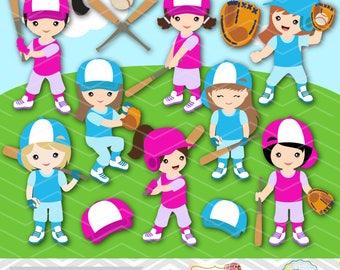 Digital Girl Baseball Clipart, Girl Baseball Digital Clip Art, Sport Clipart, Girl Sport Clip Art, Sport Girl Clipart, Baseball Clipart 0255