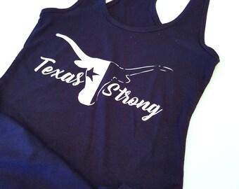 Texas Strong Longhorn Racerback Tank Top, Texas Flag Racerback Tank Top, Texas Proud Racerback Tank Top, Cute Workout Tank Top, Gym Tank Top