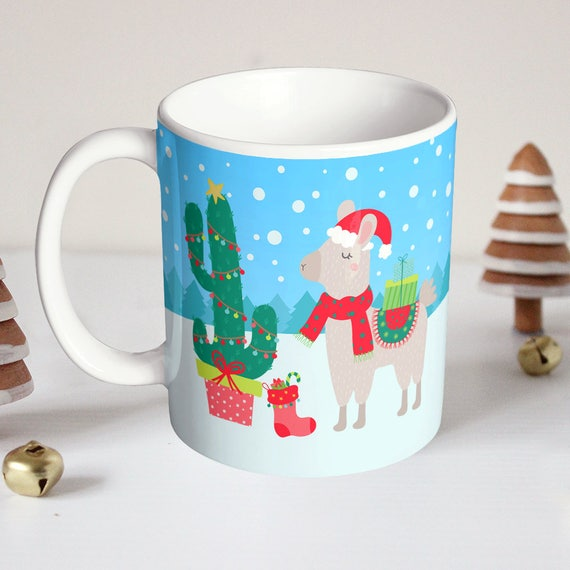 LLama Christmas Mug - Cactus Christmas Tree - Cute Llama Christmas Cup - Gift Under 20 Dollars