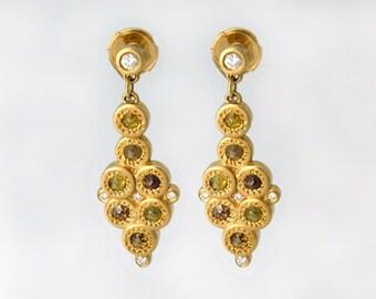 Rose cut diamond earrings, Gold pendant earrings, Rose cut diamond jewelry,Diamond earrings, Rose cut diamond jewelry,Delicate earrings gold