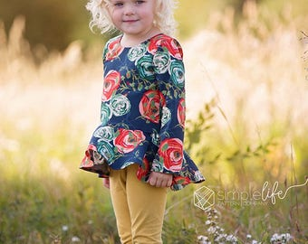 Georgia's High Low Peplum Top and Dress | PDF Sewing Pattern Toddle Girls Sizes  2T-12