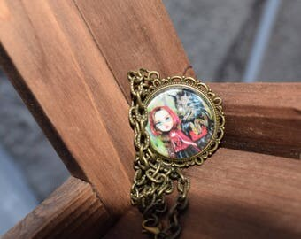 Little red ridding hood and the big bad wolf fairytale cameo necklace. Wearable unique art. Big eyes painting.