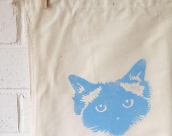 Drawstring pouch with Baby Blue Large Face Pickle Birman Ragdoll Cat Vintage Calico Prospectors bag
