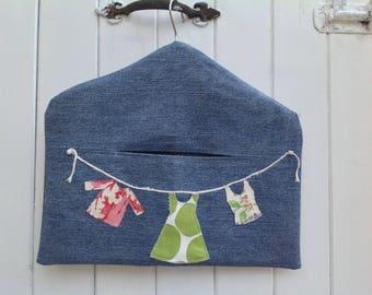 Clothespin bag, Denim peg bag, Peg bag, Recycled Denim, peg storage, storage bag, washing day, washday peg bag, fabric peg storage