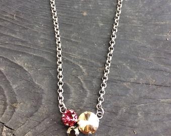 Swarovski crystal cluster necklace single pendant