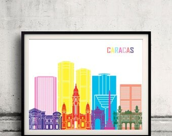 Caracas skyline pop - Fine Art Print Glicee Poster Gift Illustration Pop Art Colorful Landmarks - SKU 2415