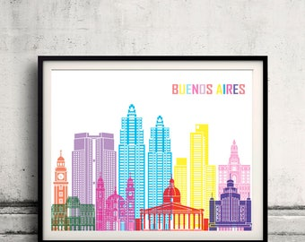 Buenos Aires skyline pop - Fine Art Print Glicee Poster Gift Illustration Pop Art Colorful Landmarks - SKU 2417