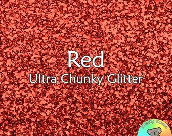 Red Chunky Glitter Fabric A4 Or A5 Sheets Faux Leather For Bows & Crafts