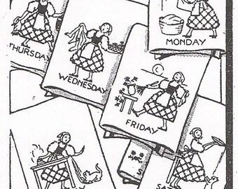 Transfer Pattern PDF Alice Brooks Embroidery Cross Stitch DOW Dutch Girls Day of Week