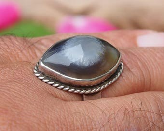 antique handmade Silver Eye-Agate stone  statement AQEEQ  ring from Afghanistan No:17/446