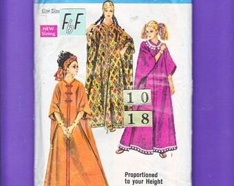 1960's Mod Burnoose, Caftan, Beach coat Sewing Pattern/ Simplicity 8354 Womens Long Boho, Loungewear caftan/ size 10 12 14 16 18