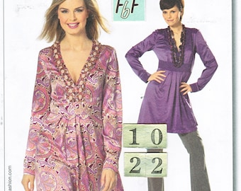 Deep V Neck, Empire Waist Top, Tunic Sewing Pattern/ Burda 7574 Women's Long Sleeve, gathered blouse, UnCut/ Size 10 12 14 16 18 20 22