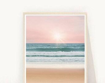 Beach Wall Art, Beach Photography, Sunset Print, Ocean Printable, Instant Download, Modern Wall Art, Home Decor, Wall Decor