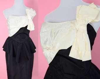 Vintage 80s Prom Dress // Black, White, Cocktail Party Dress, 1980s, Bow, Women Size Small