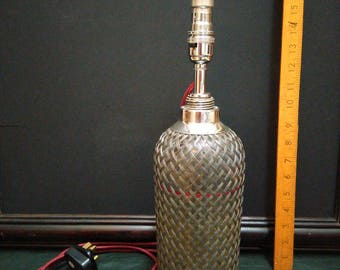 Art Deco 1920s Sparklets Wire Mesh Soda Syphon Table Lamp