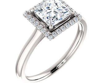 GIA Diamond Engagement Ring 1.3 Ct; Princess Halo Solitaire Diamond Ring 14K Gold; Princess Diamond Engagement Ring