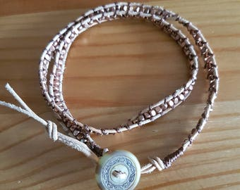 Soft Leather and Copper Wrap Bracelet -Double
