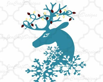 Reindeer Snowflake Christmas Lights SVG,EPS Png DXF,digital download files for Silhouette Cricut, Clip Art graphics Vinyl Cutting Machines