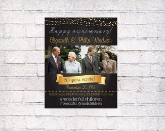 50 wedding anniversary gift, printable poster, 50th Anniversary Gift for parents from kids, 50th Anniversary Party Poster, Then And Now