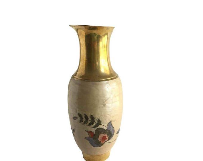 Bohemian Mid Century Brass Vase Enamel Flower Motif